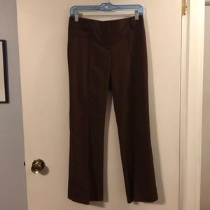 BCBG Max Azaria flat front brown trousers.
